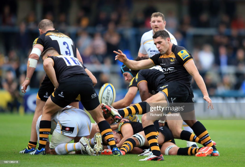 <a gi-track='captionPersonalityLinkClicked' href=/galleries/search?phrase=Charlie+Davies&family=editorial&specificpeople=2297598 ng-click='$event.stopPropagation()'>Charlie Davies</a> of Wasps chips over the scrum during the Aviva Premiership match between London Wasps and Worcester Warriors at Adams Park on September 28, 2013 in High Wycombe, England.