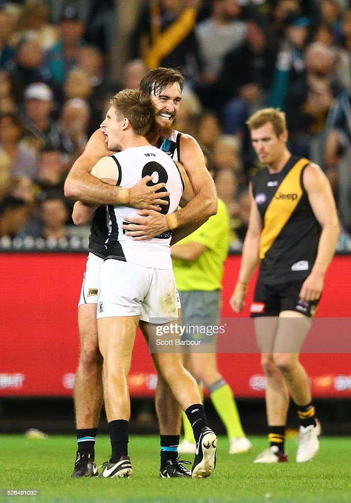 Charlie Dixon of the Power celebrates after kicking a goal during the round six AFL match between the Richmond Tigers and the Port Adelaide Power at Melbourne Cricket Ground on April 30, 2016 in Melbourne, Australia.