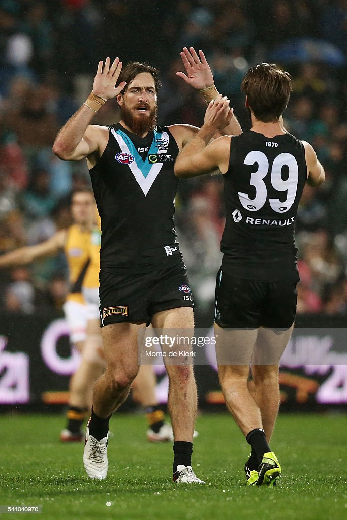 Charlie Dixon of the Power celebrates after kicking a goal during the round 15 AFL match between the Port Adelaide Power and the Richmond Tigers at Adelaide Oval on July 1, 2016 in Adelaide, Australia.