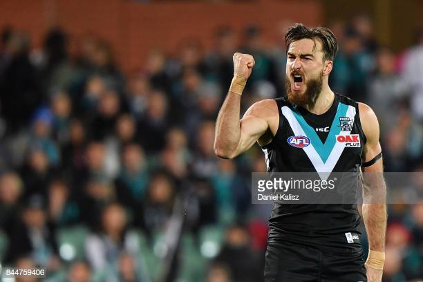Charlie Dixon of the Power celebrates after kicking a goal during the AFL First Elimination Final match between Port Adelaide Power and West Coast...