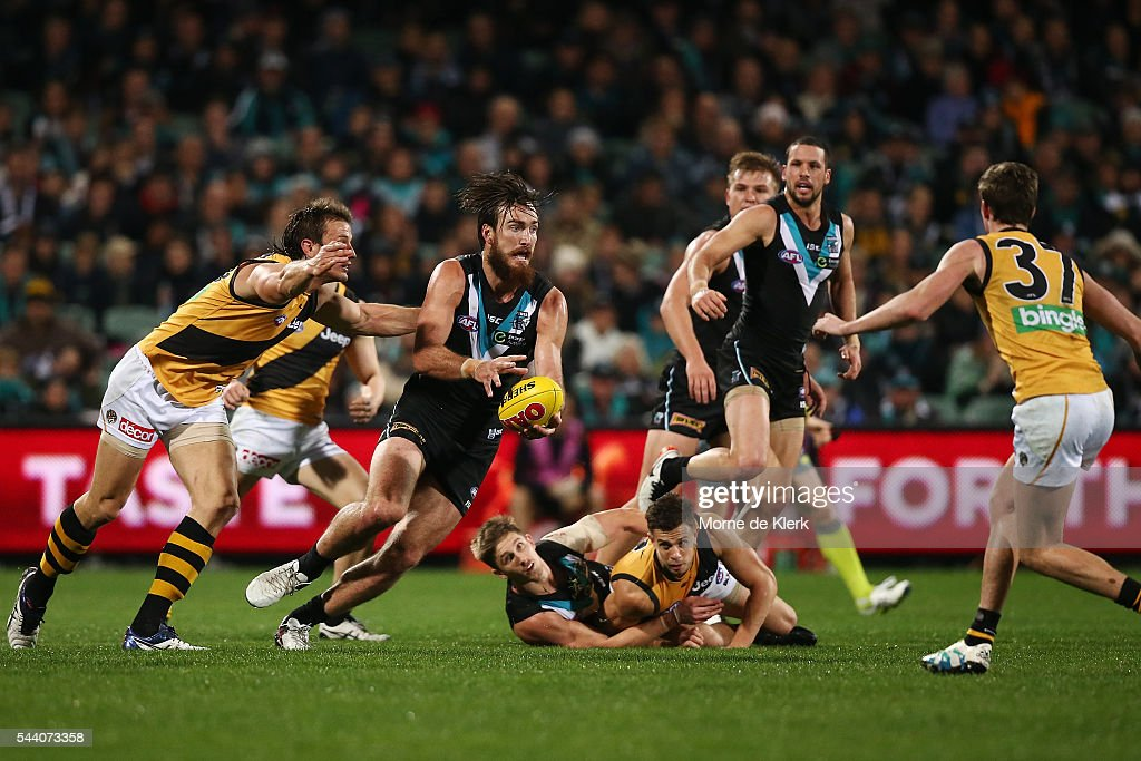 Charlie Dixon of the Power wins the ball during the round 15 AFL match between the Port Adelaide Power and the Richmond Tigers at Adelaide Oval on July 1, 2016 in Adelaide, Australia.