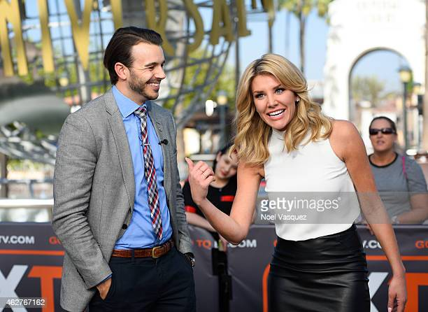 Charlie Ebersol and Charissa Thompson visit 'Extra' at Universal Studios Hollywood on February 4 2015 in Universal City California