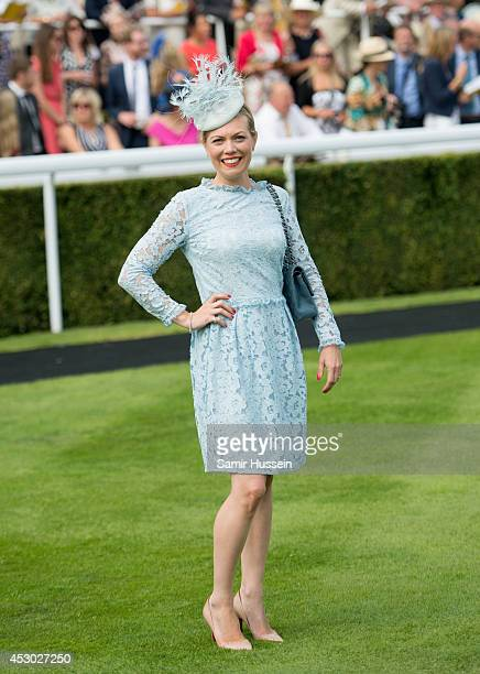 Charlie ElmyBritton poses after winning the Best Dressed Ladies competition sponsored by L'Ormarins at Glorious Goodwood at Goodwood on August 1 2014...