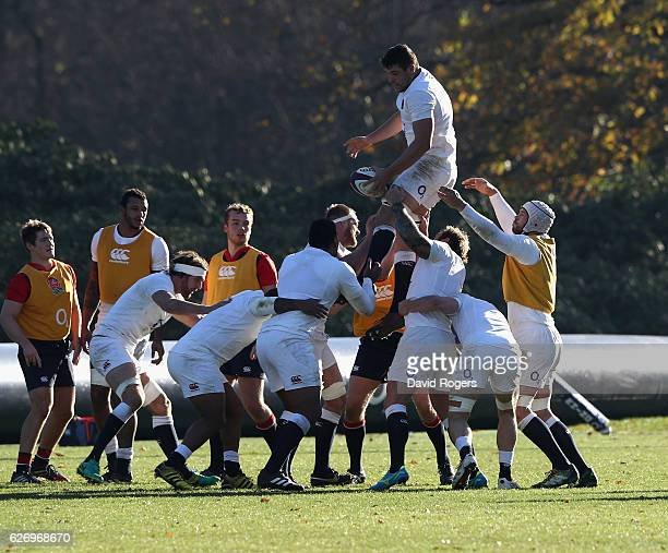 Charlie Ewels catches the ball during the England training session held at Pennyhill Park on December 1 2016 in Bagshot England