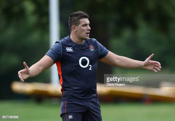 Charlie Ewels looks on during the England training session at the Lensbury Club on August 7 2017 in Teddington England