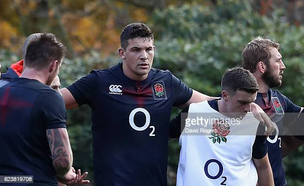 Charlie Ewels looks on during the England training session held at Pennyhill Park on November 17 2016 in Bagshot England