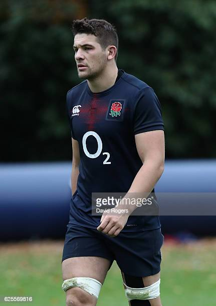 Charlie Ewels looks on during the England training session held at Pennyhill Park on November 24 2016 in Bagshot England