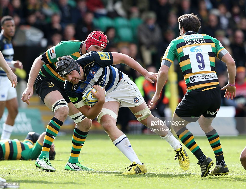 Charlie Ewels of Bath breaks with the ball during the Aviva Premiership match between Northampton Saints and Bath at Franklin's Gardens on April 30, 2016 in Northampton, England.