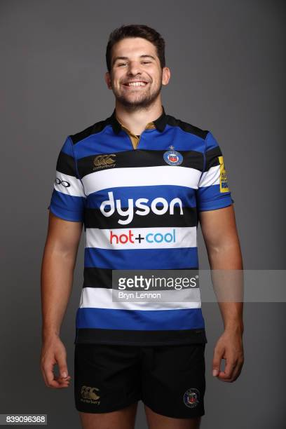 Charlie Ewels of Bath poses during a photocall on August 22 2017 in Bath England