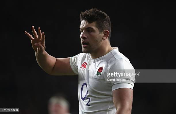 Charlie Ewels of England issues instructions during the Old Mutual Wealth Series match between England and Australia at Twickenham Stadium on...