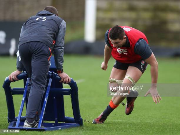 Charlie Ewels of England runs through drills during the England training session at Pennyhill Park on February 7 2017 in Bagshot England