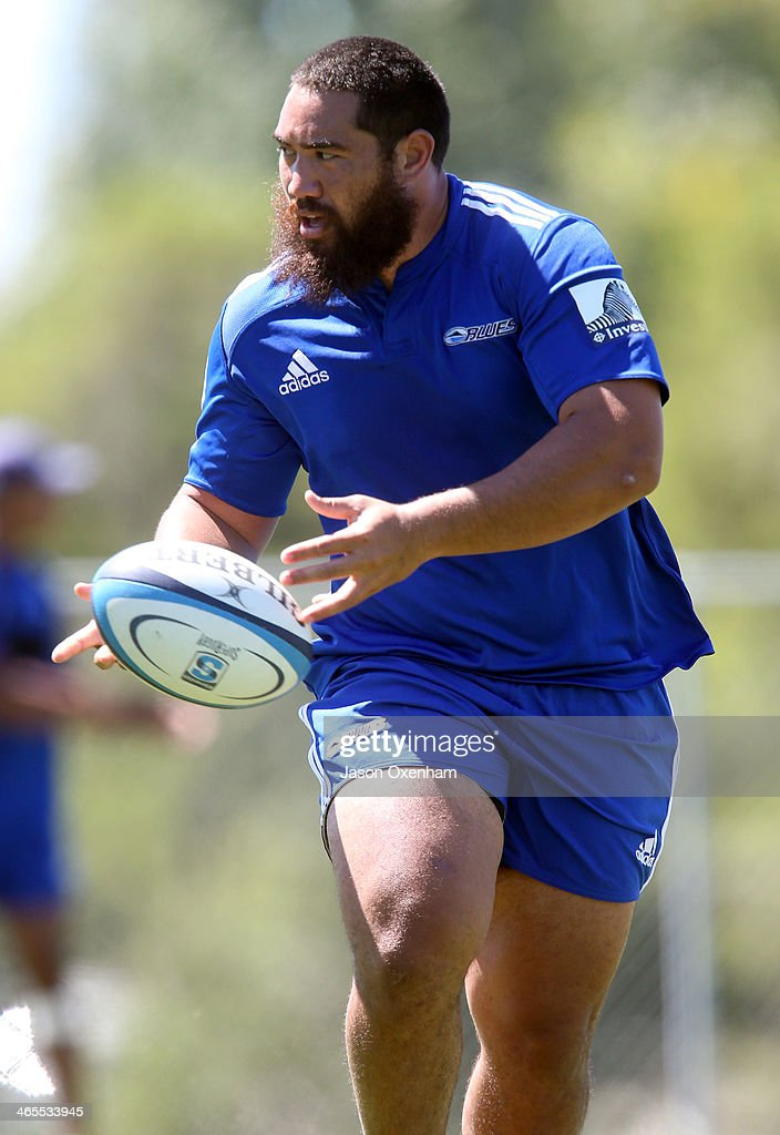 Charlie Faumuina during a Blues Super Rugby training session at Unitec on January 28, 2014 in Auckland, New Zealand.