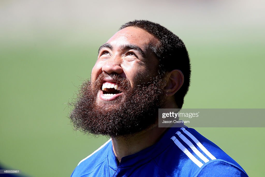 <a gi-track='captionPersonalityLinkClicked' href=/galleries/search?phrase=Charlie+Faumuina&family=editorial&specificpeople=4294873 ng-click='$event.stopPropagation()'>Charlie Faumuina</a> during a Blues Super Rugby training session at Unitec on January 28, 2014 in Auckland, New Zealand.