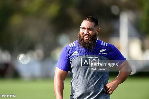 Charlie Faumuina during a New Zealand All Blacks training session at Hutt Recreation Ground on August 23 2016 in Wellington New Zealand