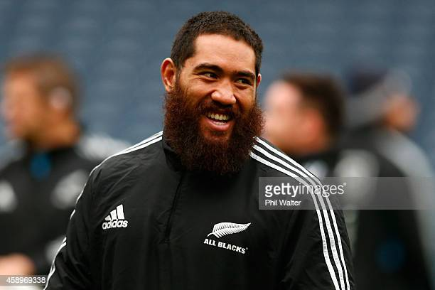 Charlie Faumuina during the New Zealand All Blacks Captain's Run at Murrayfield on November 14 2014 in Edinburgh Scotland