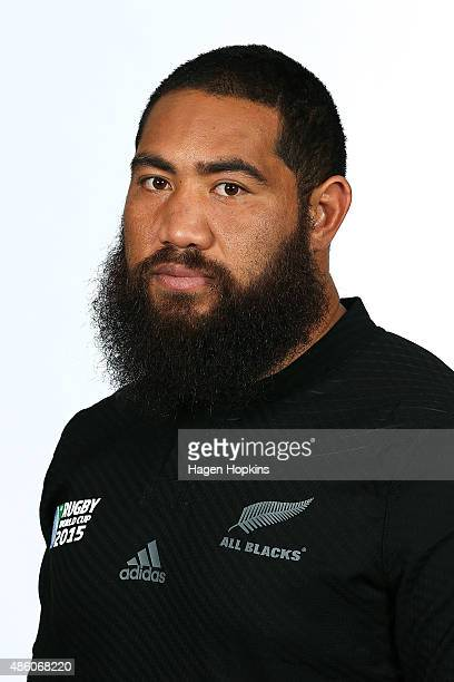 Charlie Faumuina during the New Zealand All Blacks World Cup headshots and portrait session on August 31 2015 in Wellington New Zealand