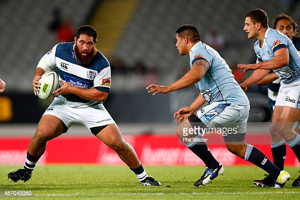 Charlie Faumuina of Auckland makes a break during the round nine ITM Cup match between Auckland and Northland at Eden Park on October 11 2014 in...