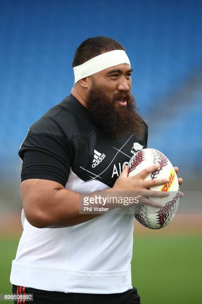 Charlie Faumuina of the All Blacks during a New Zealand All Blacks training session at Trusts Stadium on June 22 2017 in Auckland New Zealand