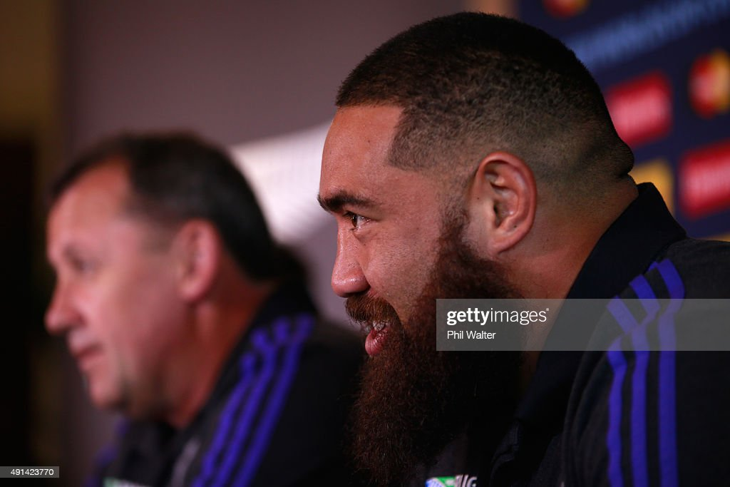 Charlie Faumuina of the All Blacks during a press conference at Rockliffe Hall on October 5, 2015 in Darlington, United Kingdom.