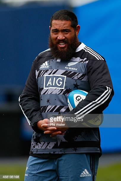Charlie Faumuina of the All Blacks during the New Zealand All Blacks Captain's run at Soldier Field on October 31 2014 in Chicago Illinois