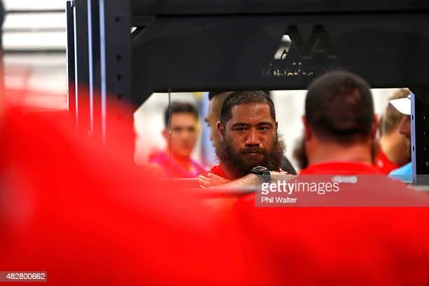 Charlie Faumuina of the All Blacks on the squat rack during a New Zealand All Blacks gym session at Les Mills Gym on August 3 2015 in Auckland New...
