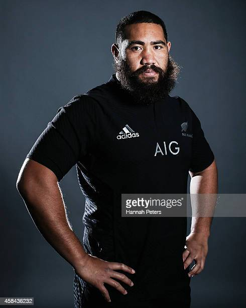 Charlie Faumuina of the All Blacks poses during a New Zealand All Blacks portrait session on October 26 2014 in Auckland New Zealand