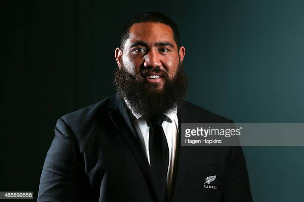Charlie Faumuina of the All Blacks poses during the New Zealand All Blacks Rugby World Cup team announcement at Parliament House on August 30 2015 in...