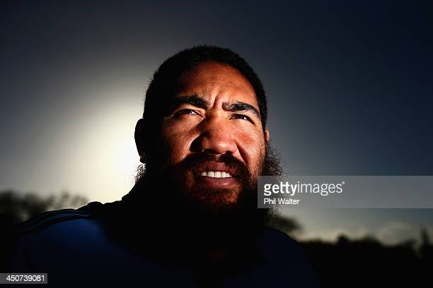 Charlie Faumuina of the All Blacks poses for a portrait at the Castleknock Golf Club following a New Zealand All Blacks training session on November...