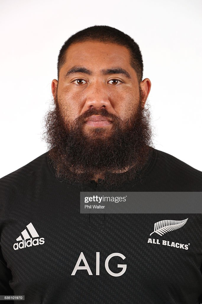 Charlie Faumuina of the All Blacks poses for a portrait during a New Zealand All Black portrait session on May 29, 2016 in Auckland, New Zealand.