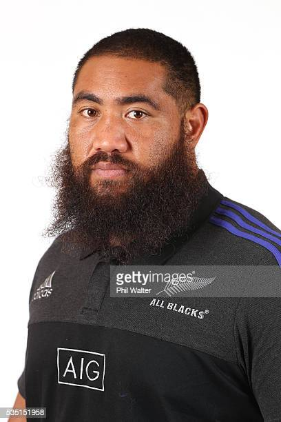 Charlie Faumuina of the All Blacks poses for a portrait during a New Zealand All Black portrait session on May 29 2016 in Auckland New Zealand
