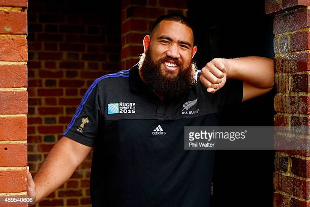 Charlie Faumuina of the All Blacks poses for a portrait following a New Zealand All Blacks media session at the Lensbury on September 22 2015 in...