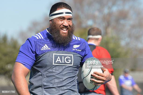 Charlie Faumuina of the All Blacks reacting during a New Zealand All Blacks training session on September 13 2016 in Christchurch New Zealand