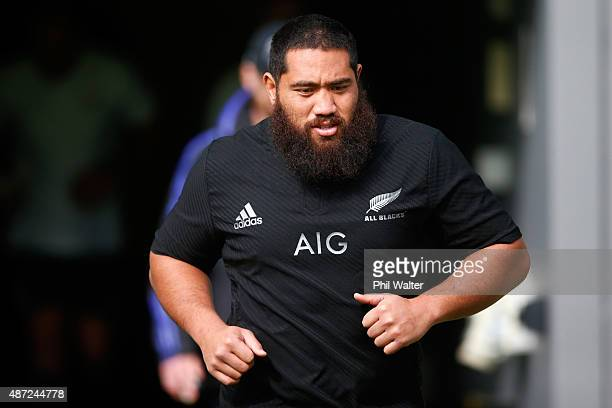 Charlie Faumuina of the All Blacks runs out for a New Zealand All Blacks training session at Eden Park on September 8 2015 in Auckland New Zealand