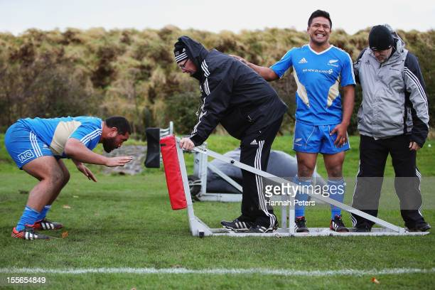 Charlie Faumuina of the All Blacks runs through scrum drills during a training session at Peffermill University on November 6 2012 in Edinburgh...