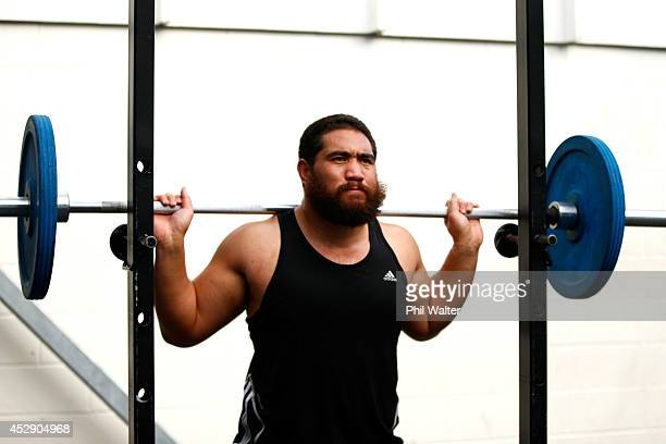 Charlie Faumuina of the All Blacks trains during a gym session at Les Mills Takapuna on July 30 2014 in Auckland New Zealand
