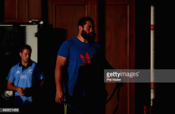 Charlie Faumuina of the All Blacks trains during a New Zealand All Blacks gym session at the Westmanstown Sport and Conference Centre on November 19...