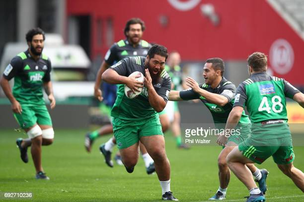 Charlie Faumuina of the Blues during a Blues Captain's Run ahead of their match against the British Irish Lions at Eden Park on June 6 2017 in...