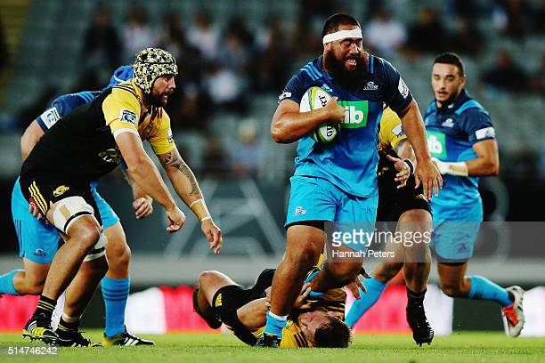 Charlie Faumuina of the Blues makes a break during the round three Super Rugby match between the Blues and the Hurricanes at Eden Park on March 11...