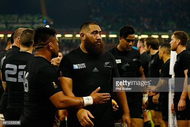 Charlie Faumuina of the New Zealand All Blacks and Julian Savea of the New Zealand All Blacks after the 2015 Rugby World Cup Pool C match between New...