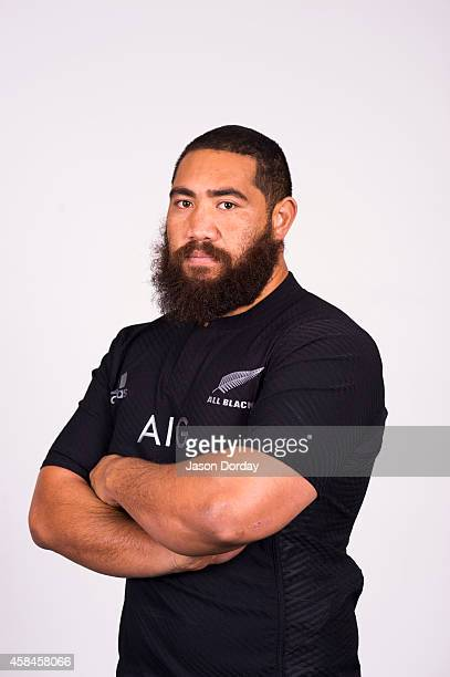 Charlie Faumuina of the New Zealand All Blacks poses during a official headshot session at the Novotel Auckland Airport on October 26 2014 in...