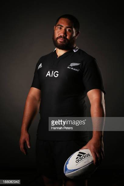 Charlie Faumuina poses during a New Zealand All Blacks portrait session at the Heritage Hotel on November 1 2012 in Auckland New Zealand