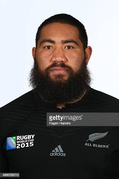 Charlie Faumuina poses during the New Zealand All Blacks World Cup headshots and portrait session on August 31 2015 in Wellington New Zealand