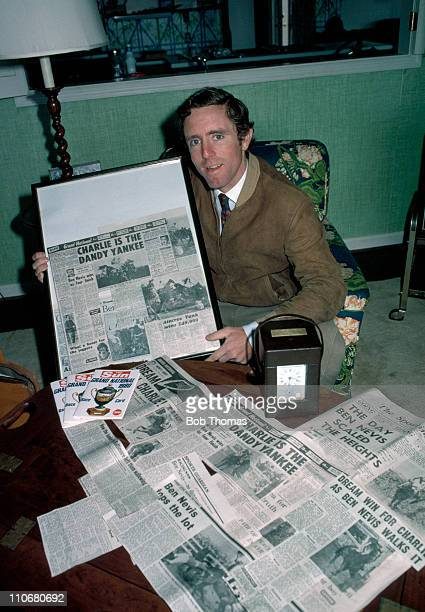Charlie Fenwick winner of the Aintree 1980 Grand National on Ben Nevis with his press cuttings at home on his farm in Baltimore Maryland USA