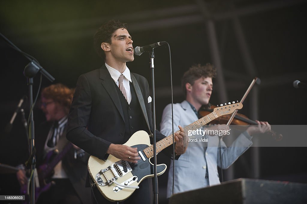 Charlie Fink and Tom Hobden of Noah and the Whale perform on stage during BBK Live at Kobetamendi on July 13, 2012 in Bilbao, Spain.