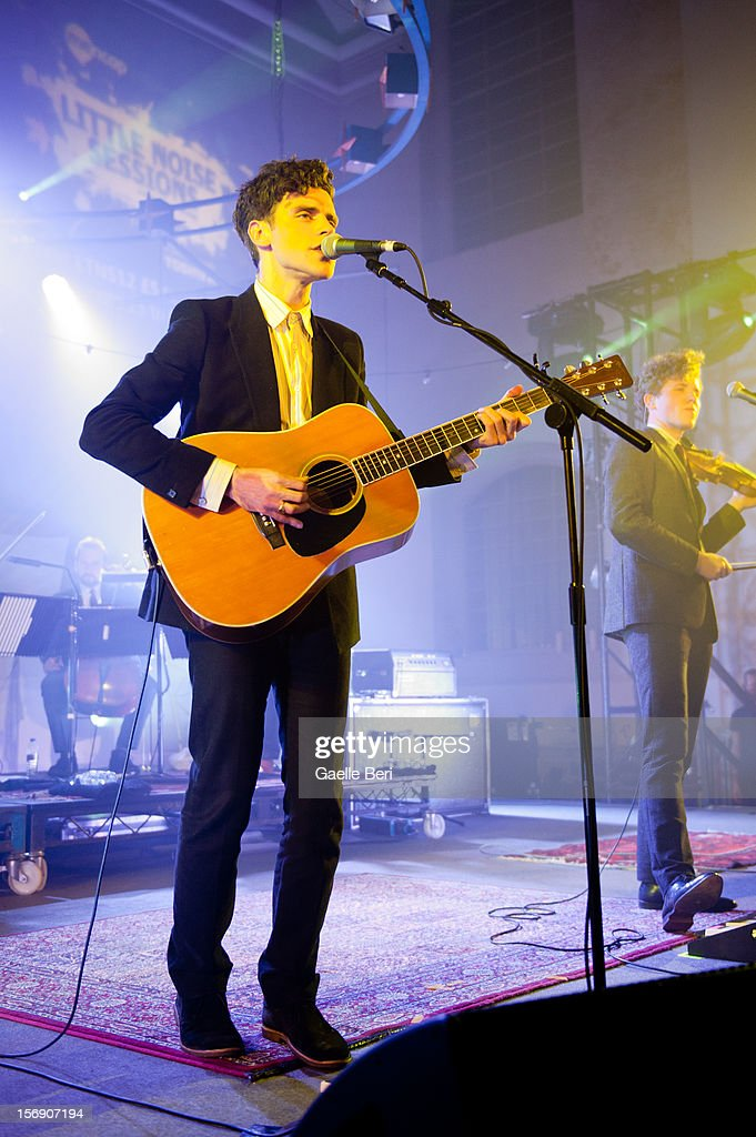 Charlie Fink and Tom Hobden of Noah and the Whale performs as part of Mencap's Little Noise Sessions at St JohnAtHackney on November 24 2012 in...