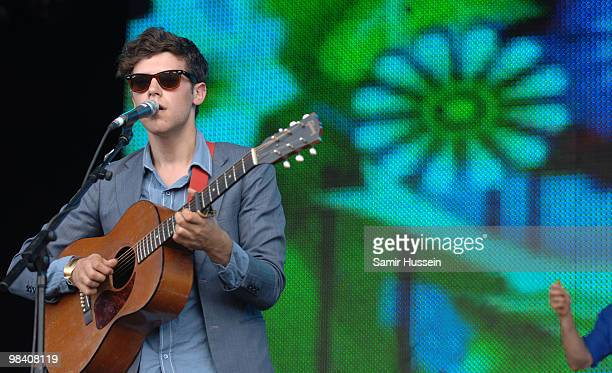 Charlie Fink of Noah and the Whale performs on the main stage during the Get Loaded In The Park festival on Clapham Common on August 24 2008 in...