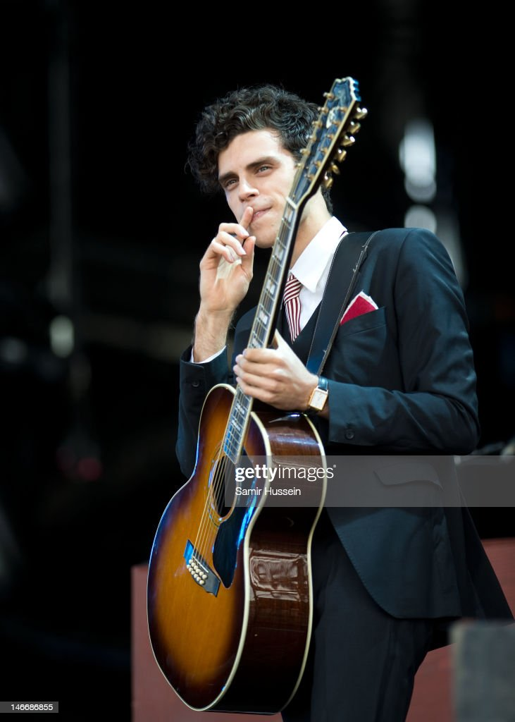 Charlie Fink of Noah and the Whale performs on the main stage on day 2 of The Isle of Wight Festival at Seaclose Park on June 22, 2012 in Newport, Isle of Wight.