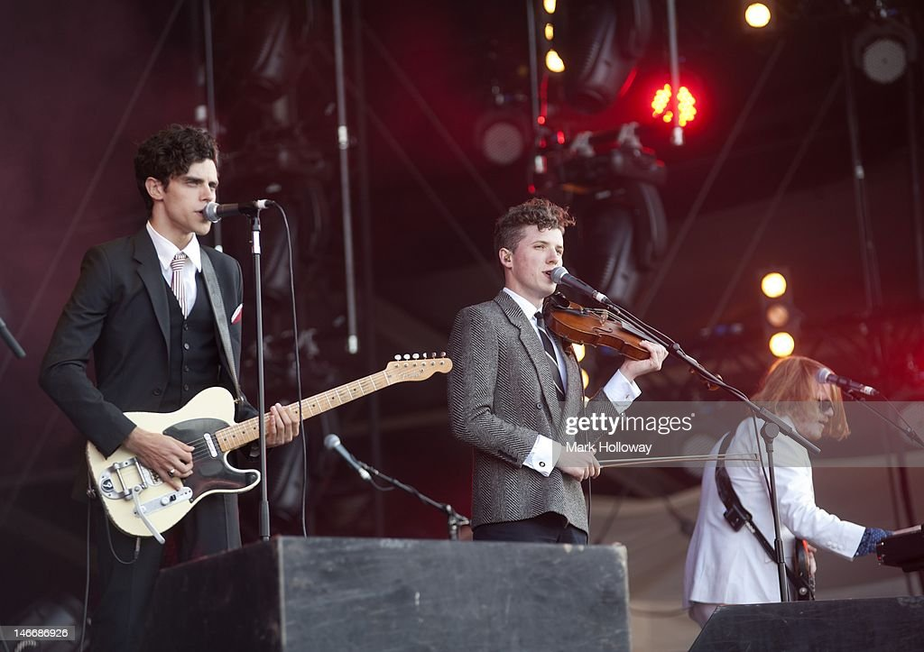 Charlie Fink, Tom Hobden and Matt Owens performs on stage at the Isle of Wight Festival at Seaclose Park on June 22, 2012 in Newport, United Kingdom.