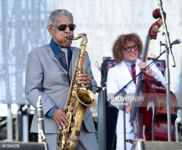 Charlie Gabriel and Ben Jaffee of the Preservation Hall Jazz Band perform on the Coachella Stage during day 1 of the 2017 Coachella Valley Music Arts...