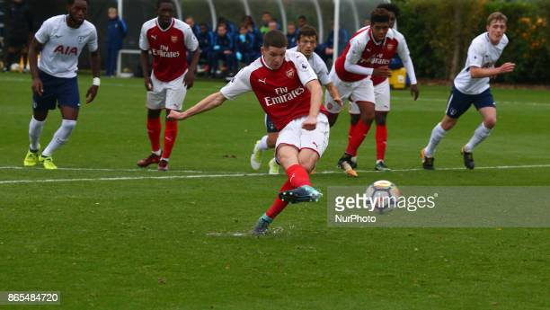 Charlie Gilmour of Arsenal scores from penalty spot during Premier League 2 Div 1 match between Tottenham Hotspur Under 23s against Arsenal Under 23s...